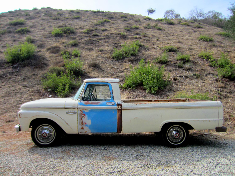 White Truck Blue Door